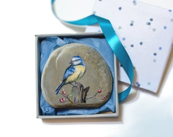 Painted Stone Blue Tit Bird  Painting on Stone Rock Painting Oil painting