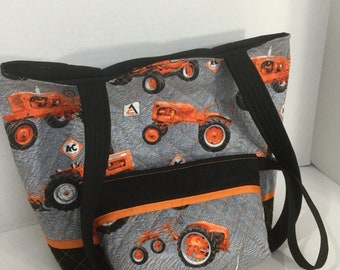Allis Chalmers Quilted Purse - Quilted Tote - Market Bag - Cosmetic Bag - Shoulder Bag - NFL Tote - NHL Tote - Beach Bag - Tractor Tote