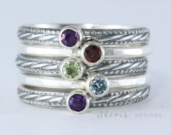 5 Stacking Rings with Birthstones, Mother's Rings, Family Rings, Gemstones, Sterling Silver rings, custom made