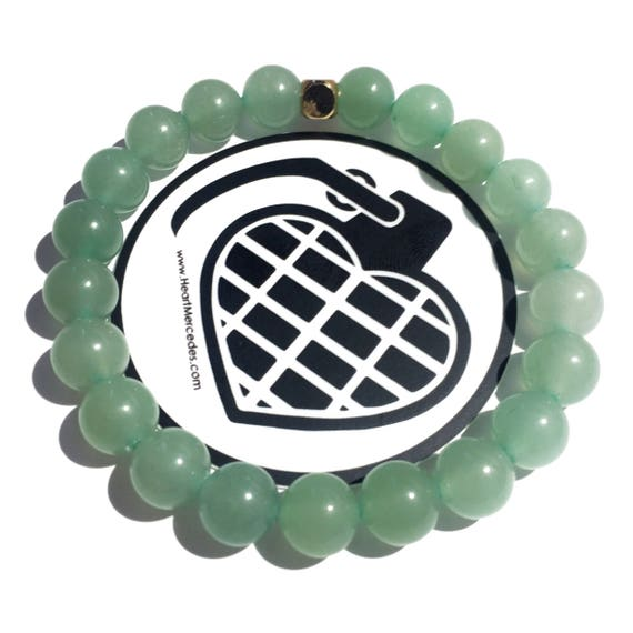 Aventurine, compassion & positivity Beaded Bracelet 8mm, women,men, unisex, Custom fit, Meditation, Yoga, Mala, Gold Plated