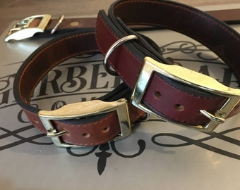 FREE SHIPPING !!! Bison & Bull Hide Leather Dog Collar