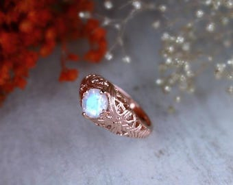 Rainbow Moonstone Vintage Inspired Engagement Ring | Filigree Design | Prong Setting | Solid 14K Gold | Fine Jewelry | Free Shipping