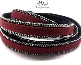 20cm cord flat faux leather suede red BORDEAUX chain BRACELET creating 10 x 2.8 mm