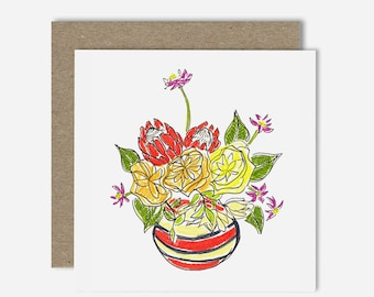 Proteas in Pot / Floral Illustration Greeting Card