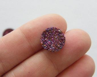 10 Purple resin druzy cabochon 12mm FS130