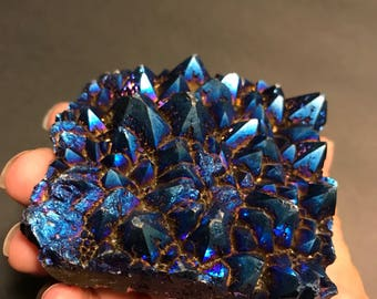dreamy dark blue aqua aura quartz // 202 grams //  Crystal Cluster // third eye // throat chakra // rainbow titainium //