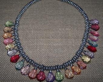 Multi-color plastic prism necklace
