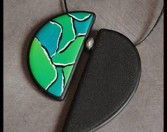 Green Blue polymer Peacock pendant