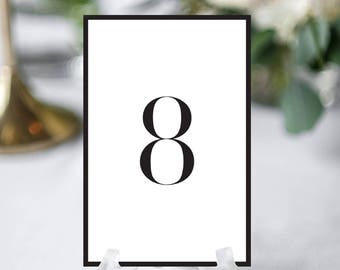Printable Wedding Table Numbers. Minimalist Wedding Table Numbers Printable Template. DIY Table Numbers Templates 1-40 PDF Instant Download