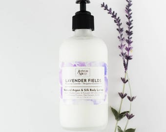 LAVENDER FIELDS | Natural Argan and Silk Lotion | Body and Hand Lotion | Hungarian Lavender + Bergamot Essential Oil