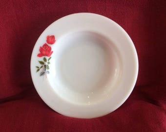 Pyrex JAJ June Rose Soup bowls 1/2 pint 8 7/16 diameter circa 1960