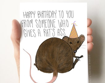 Rat's Ass Birthday Card, Funny Birthday Card, Boyfriend Birthday Card, Dad Birthday Card, Brother Birthday Card, Sister Birthday Card