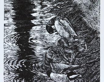 Duck Original Print, Art, Hand Printed Wood Engraving