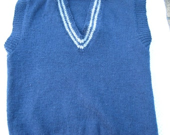 Gorgeous Dark Blue Hand Knitted Vest for a Boy aged around 10 years.