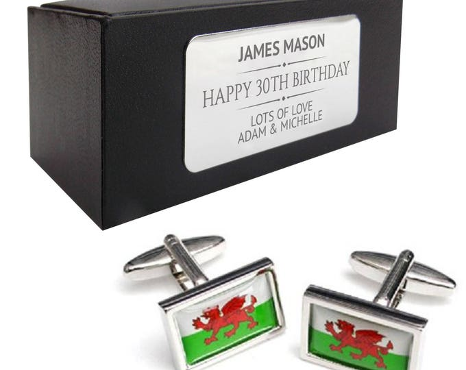 St Andrews, Wales, Welsh flag CUFFLINKS 30th, 40th, 50th, 60th, 70th birthday gift, presentation box PERSONALISED ENGRAVED plate - 080