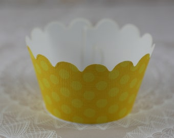 Cupcake Wrapper, Cupcake Wrappers,  Set of 12 Cupcake Wrappers, yellow cupcake wrapper, Big dot, Baby Shower cupcake wrapper