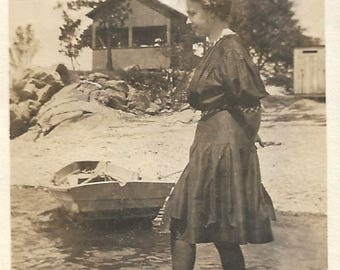 """Vintage Snapshot """"Summer At The Shore"""" Pretty Girl At The Beach Ocean Cove Rowboat Vintage Swimwear Old Photo Vernacular Photography"""