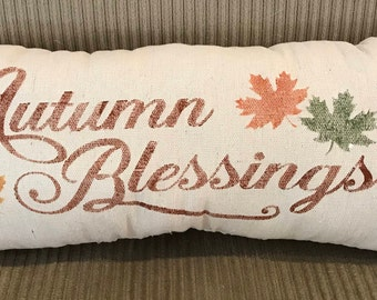 Autumn Blessings Grain sack Pillow