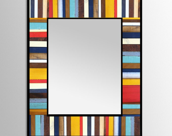 "Reclaimed Wood Mirror - ""Cape Cod Reflection"" - 28x34"" - Scrap wood art - Modern Wood Wall Art - Abstract Wood Art"
