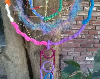 Dream Catchers with 7 Chakras and a healing Peace Sign Rainbow Mobile Dream Protection dancing Colorful Rainbows Dreamcatchers total of 8