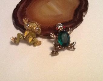 Frog Brooch Gemstone Green Enamel Kitschy Costume Jewelry Choice