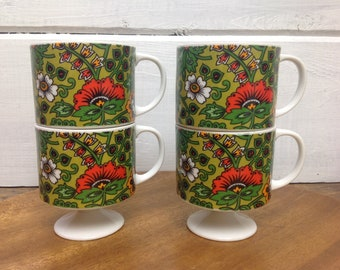 Mid Century Holt Howard Set of 4 Pedestal Mugs 1968