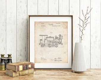 Steam Locomotive 1886 Patent Poster, Gilded Age, Steam Train, Boys Room Decor, Train Room Decor, Train Wall Art, PP0122
