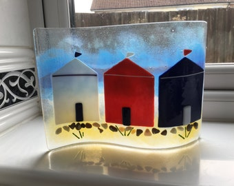 Seaside fused glass panel- beach huts-beach-present-gift-Fathers day-Mother day- beach-seaside