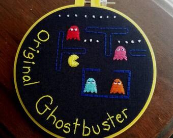"""Pac-Man """"Original Ghostbuster"""" Embroidery Hoop"""