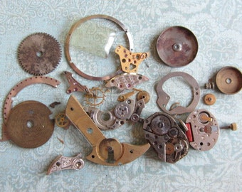 Vintage WATCH PARTS gears - Steampunk parts - k52 Listing is for all the watch parts seen in photos