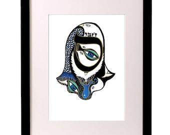 Hamsa Hand Print, Eye Art, Dove Art, Typography, Illustration Print, Modern Jewish Art, Judaica Art,Hebrew Letter, Wedding Art, Kabbalah Art