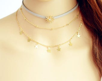 grey gold sun crystal rhinestone choker layered necklace 3 pieces adjustable star necklace latest trend necklace choker