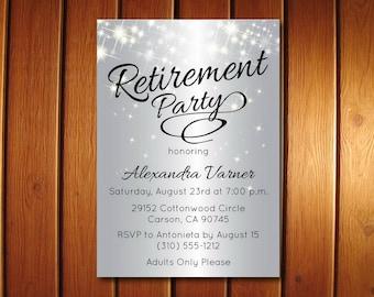 Silver Retirement Party Invitation | Elegant Retirement Invitation | Sparkly Invitations | Customized Invite