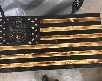 Rustic Wooden American Flags with United States navy anchor