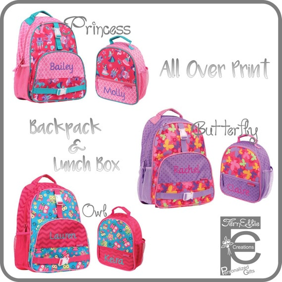 Stephen Joseph All Over Print Backpack and Lunch Box, Personalized Kids Backpack Lunch Box, Princess, Owl, Butterfly.
