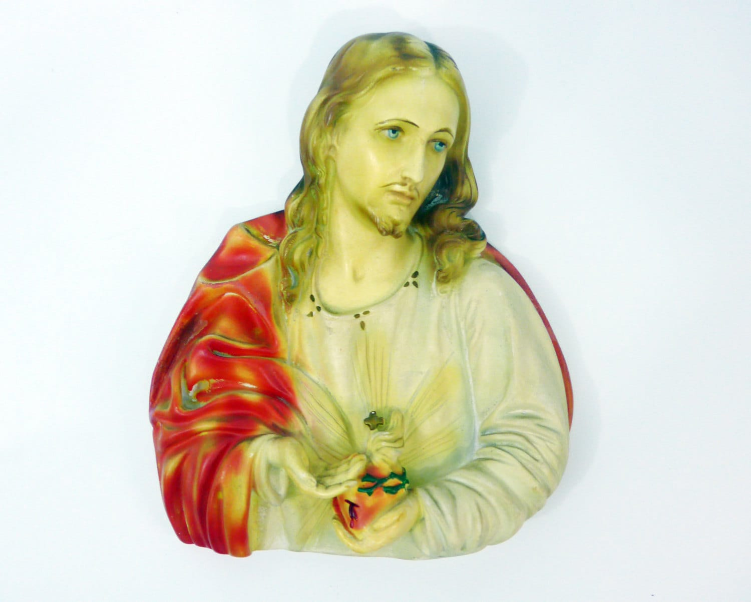 LARGE Jesus Wall Plaque Chalkware - Vintage Plaster Wall Decor - Mid ...