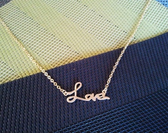 Love Script charm Necklace,Gold charm Necklace, pendant, infinity love, wedding, necklace,christmas gift, Valentine's Day