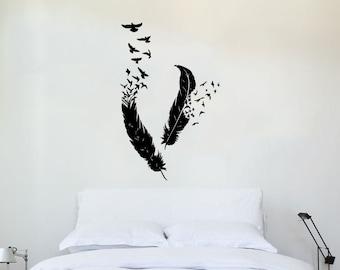 Feather Wall Decal Vinyl Sticker Decals Bird Home Decor Art Birds Of A Feather Nib Style Living Room Decor Boho Bedroom Nursery Dorm ZX154