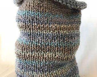 Multi-Color Landscape Blue Knit Cowl