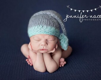 Stocking Cap Photo Prop Newborn Hat Baby Boy Mohair Beanie Going Home Infant Photography Hand Knit Elf Knitted Winter Outfit Aqua Coming