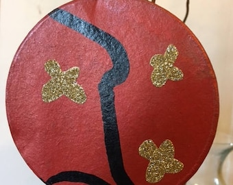 SALE! Two Dollars Off Original Price: Hand painted 4 inch paper mache tree ornament.