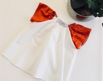 Girl in cotton and velvet dress!