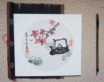 Original Chinese Ink and Painting- Zen Plum Blossom and Tea, 梅花, 25x27cm, Chinese Painting, Wall Art, Home Decor, Great Gift!