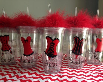 4 Personalized Corset Lingerie Bachelorette Party Tumblers