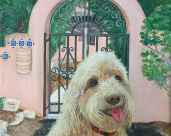 16x20 labradoodle painting from photo custom pet portrait on canvas hand painted dog and cat for pet lovers