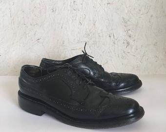 Vintage Men's Black Wingtip Oxford Shoes Size 7 1/2 C FREE SHIPPING
