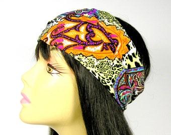 Boho Head Wrap Boho Hair Wrap Yoga Head Wrap Workout Headband Paisley Print Head Wrap Paisley Headband Hippie Head Wrap Wide Headband