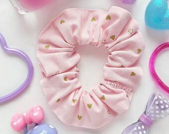 Pastel Hair Scrunchie Pink Gold Hearts Hair Bun Ponytail Holder Hair Tie Retro 80s 90s Sweet Pastel Pink Scrunchie