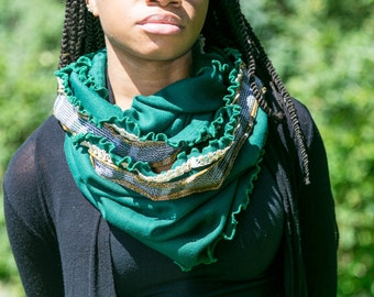 Forest Green Kale Ruffled Edge Infinity Scarf with Lace and Plaid Trim