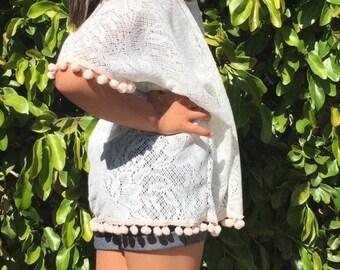 Vanilla Bean Crochet Lace Kimono, Toddler Kimono, Pom Pom Trim Kimono, Swim Suit Cover Up, Beach Fashion, Festival Kimono, Boho Bab